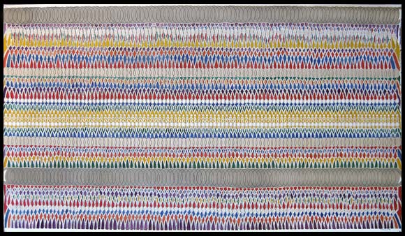 """Tapestry. (2007). 29"""" H x 51"""" W (75 cm x 130 cm). Used motor oil mixed media on paper"""
