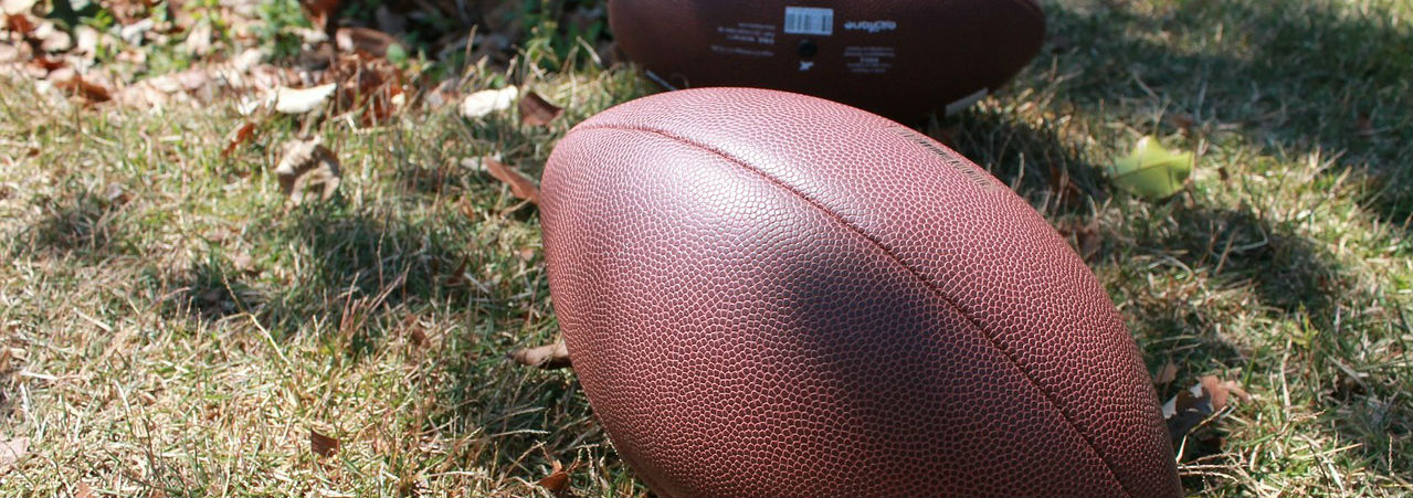 Many footballs are made almost entirely from petroleum-based synthetics, such as this one pictured, here.