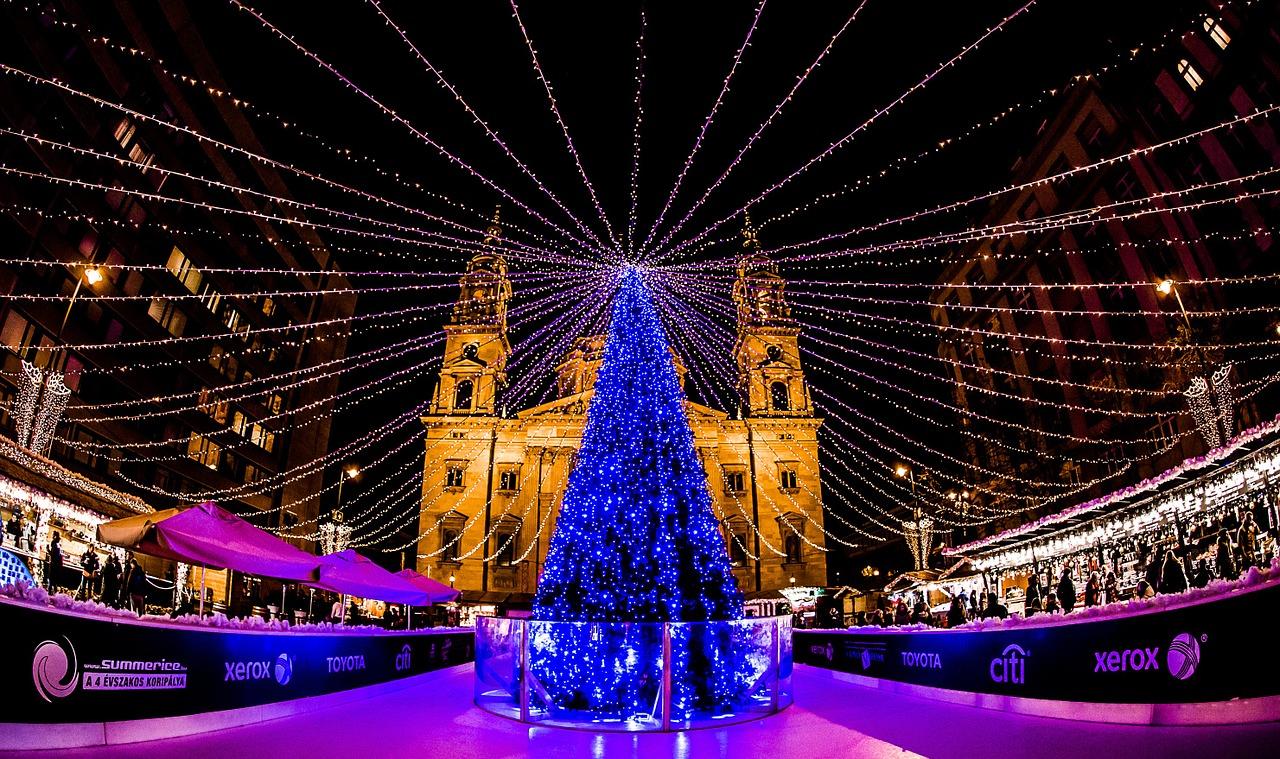 christmas, lights, christmas lights, budapest