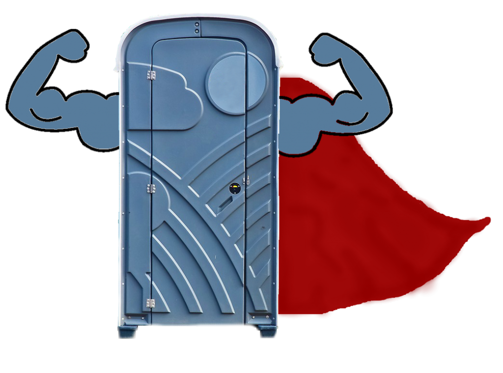 porta-potty, porta potties, superhero, sanitation superhero, modern marvel, portable toilet